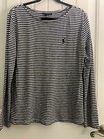 RALPH LAUREN Women's Top Blue and White Striped 100% Cotton Long Sleeve Sz L