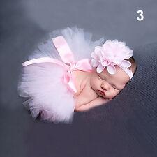 LC _ bebé recién nacido niña Fino FALDA DE TUTÚ + DIADEMA CON FLOR apoyo de FOTO