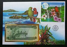 Solomon Islands Bird 1995 Parrot Pet Fauna Flora Flower FDC (banknote cover)