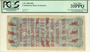 Atlanta Georgia Advertising Note O/P 1864 Confederate Banknote PCGS 35 VF PPQ