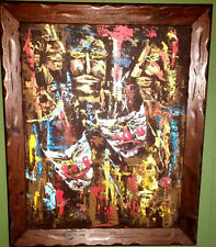 Vtg 28X22 Signed Abstract Original Painting Comedy Tragedy Mid Century Modern
