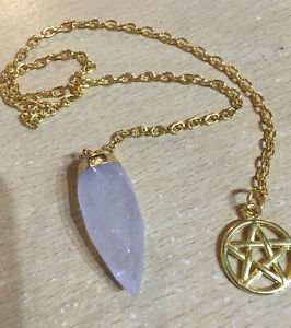 Pendulum Crystal Rose Quartz Crystal With Pentagram Gold Plated Pagan Wiccan NEW