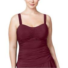 a40893d4e22 Profile by Gottex Plus Size Shirred Underwire Wine Tankini Top size 20W