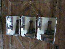 Ancien MIROIR Triptyque Pliant Chainette mural Oiseau PAON Voyage Bain Toilette