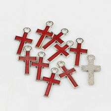 20pc 8*15mm Red Color Stylish Pretty Small Enamel Cross Alloy Charm