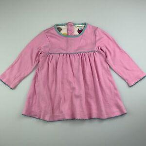 Girls size 0, John Lewis Baby, pink soft cotton casual long sleeve dress, FUC