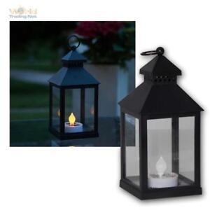 """Solar Lantern """" Agra """" Black, LED Amber for Exterior & Inside, Candle Light"""