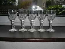 FIVE ANTIQUE PORT / WINE GLASSES WITH SILESIAN STEMS, GADGET MARKED, C1860-1900