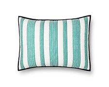 "THRESHOLD TEAL WOVEN STRIPE PILLOW SHAM 100% COTTON NEW IN PACKAGE 20"" X 26"""