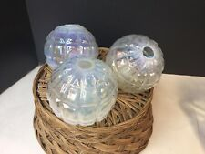 Lot Of 3 Vtg Heavy Clear Thick Glass Christmas Balls Tree Ornament Ribbed