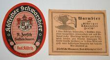2 uralte Bieretiketten BE Köstritzer Schwarzbier & Warmbier Zersch Bad Köstritz