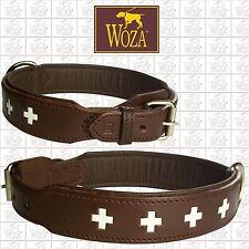 Premium Dog Collar Swiss WOZA Full Leather Genuine Cow Napa Padded Handmade HM33