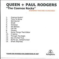 QUEEN + PAUL RODGERS The Cosmos Rocks UK numbered/watermarked promo test CD