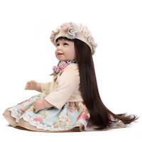 """22"""" Lifelike Handmade Reborn Baby Girl Doll Vinyl Toddler Long Hair Newborn Gift"""