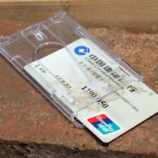 Vertical Hard Plastic ID Badge Holder Double Card Multi Transparent Clear