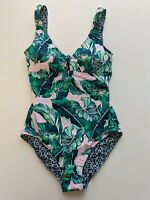 Tommy Bahama Breezy Palms Reversible One Piece Swimsuit, Green, Women's 6