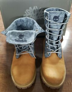 TIMBERLAND Earthkeepers Canvas Fold Down RARE WHEAT/ FLORAL Boots Women Sz US7.5