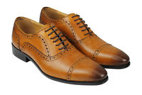 Mens Classic Genuine Real Leather Tan Brown Retro Formal Brogue Lace up Shoes