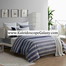 LACOSTE GIMEL VAPOR BLUE 3PC KING DUVET BLUE WHITE GRAY STRIPES 100% COTTON $335