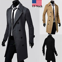 US Stock Men's Trench Coat Fashion Business Office Solid Long Jacket Parka Coat