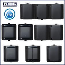 Aufputz Steckdosen Schalter IP54 Feuchtraum Steckdose 3-fach Schwarz Taster KOS
