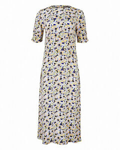 Oliver Bonas Charleston Floral Print Blue Midi Dress Size 12 New RRP £69.50