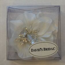 David's Bridal Ivory Flower Clip With Crystal & Feathers Brand New