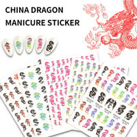 5 Sheets Chinese Dragon Pattern Decals Set Stickers Manicure DIY Nails Art Decor