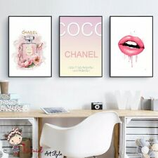 Wall art prints set of 3 Fashion posters, Chanel Lover's, Makeup print, Pink art
