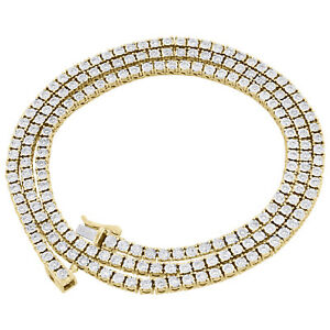 "Mens 10K Yellow Gold 1 Row Necklace Diamond Tennis Link 22"" Choker Chain 3 CT."