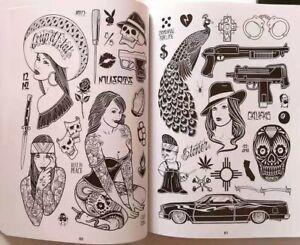 Tattoo Flash Book Western Character Skull Style Body Art Design Pattern Template