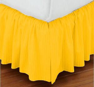 "15"" Drop Dust Ruffle Bed Skirt 800TC Egyptian Cotton STRIPE Twin/Full/Queen/King"