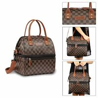 WODKEIS Insulated Lunch Bag Portable Double Tote Picnic Work Box for Women Men