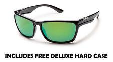 Suncloud Cutout Sunglasses - Black w/ Green Mirror - Free Hard Case + Free Ship
