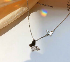 Double Butterfly Pendant 925 Sterling Silver Chain Necklace Women Jewellery Gift