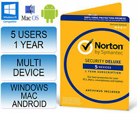 Norton Security 3.0 Deluxe Multi Device 5 Users 1 Year 2016 & 2017 Not 2.0 / 360