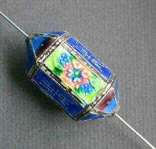 Vintage Chinese Cloisonne Shou Canton Enamel Silver 6 side Lantern Bead 30mm