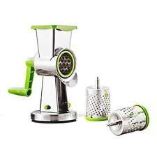 Kitchen Rotary Stainless Steel Vegetable Fruit Cheese Grater 3 Drums Slice Shred