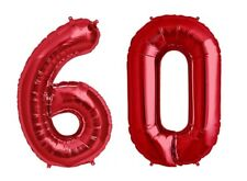"""Giant 40"""" 60 Hot Red Number Balloons 60th Birthday Anniversary Foil Float Helium"""