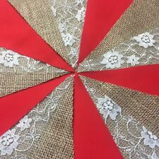 HANDMADE FABRIC AND HESSIAN BUNTING.CHOICE OF PLAIN COLOURS AND LACE.