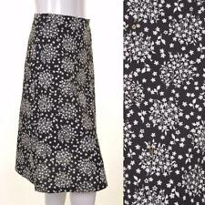 VINTAGE 70s Floral A Line Skirt 10 12 Black White Monochrome Retro
