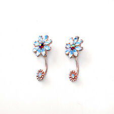 E1019 Betsey Johnson Blue Flower Bridesmaid Wedding Accessories Earrings US