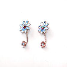 E1019 Betsey Johnson Blue Flower Bridesmaid Wedding Accessories Earrings US