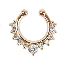 1Pc New Punk Fake Septum Clicker Nose Ring Non Piercing Clip On Jewelry Fashion