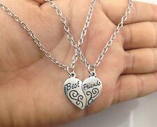 Best Friends MOOD Heart Necklace Pendant Set of 2pcs necklaces  silver BFF