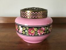 Vintage  Falcon Ware Pink Pottery Rose Bowl with Floral Band and Metal Frog