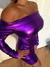 Sexy Bodycon Clubwear Purple Metallic Long Sleeved OFF The Shoulder Dress L