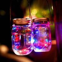 Solar 2M 20LEDs Fairy String Light Garden Deck Party Mason Jar Lid Night Lights