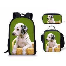 Cool Dog Print Bag 3pcs School Bags Backpack Bookbag Lunchbag Totes Set Pen case