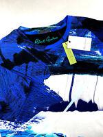 Robert Graham Abstract Brushstroke Print T-Shirt Crewneck Blue Mens Medium $118